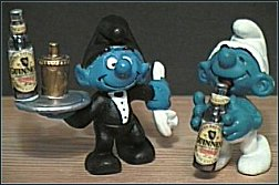 Waiter With Guiness Bottle & Drinking Guiness Smurf